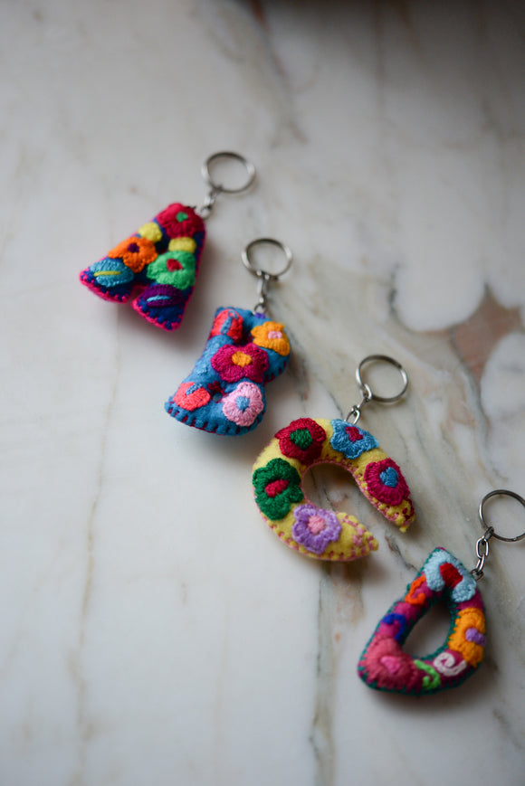 Embroidered Letter Keychain - The Little Pueblo