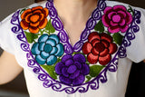 Shirt - Traditional Embroidered Hippie Mexican Floral Top - The Little Pueblo