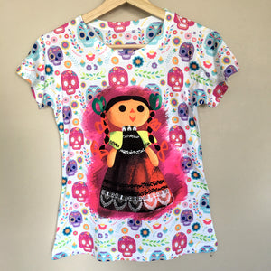 Sugar Skull Halloween Graphic Tee Mexican  Doll T-Shirt - The Little Pueblo