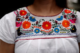 Shirt - Traditional Mexican Embroidered Shirt Floral Top Blouse Handmade White Gypsy Hippie Ethnic Peasant Boho Blue Red Flowers Oaxaca Floral - The Little Pueblo