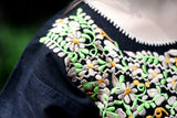 Traditional Mexican Black Floral Embroidered Shirt - The Little Pueblo