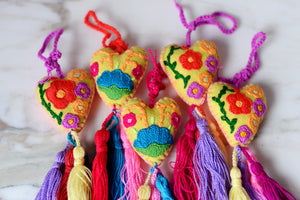 Mexican Heart Embroidered Felt Ornament Decoration with Tassels - The Little Pueblo