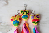 Mexican Heart Keychain with Tassels from Chiapas, Mexico - The Little Pueblo