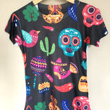 Day Of The Dead Mexican Graphic Tee Colorful Skull - The Little Pueblo