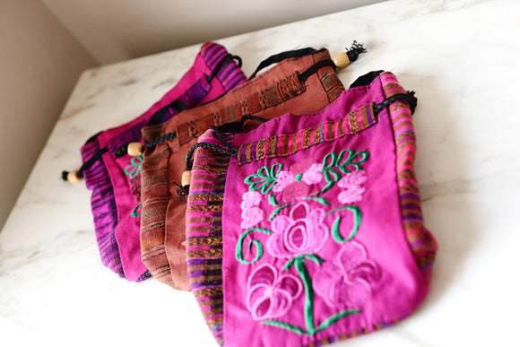 Small Mexican Bucket Bag Woven with Embroidery - The Little Pueblo