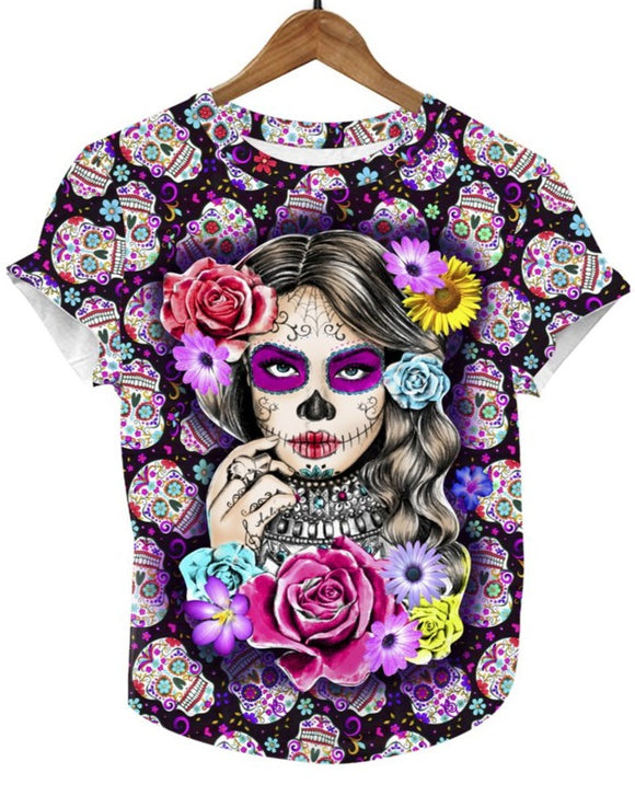 La Catrina Mexican T-Shirt Full Print Graphic Tee - The Little Pueblo