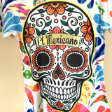 Sugar Skull Halloween Colorful Graphic Tee Mexican T-Shirt New Size M, L, XL - The Little Pueblo
