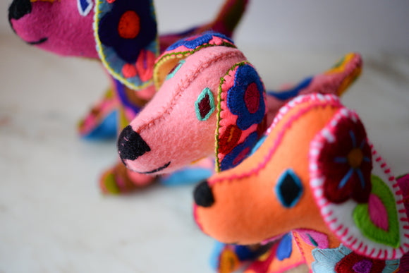 Handcrafted Felt Embroidered Dog from Mexico - The Little Pueblo