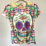 Colorful Sugar Skull Halloween Graphic Tee Mexican T-Shirt New Size M, L, XL - The Little Pueblo