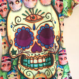 Colorful Sugar Skull Dia De Muertos Graphic Tee Mexican T-Shirt New Size M, L, XL - The Little Pueblo