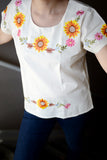 Shirt - Traditional Mexican Embroidered Sunflower Shirt Floral Top - The Little Pueblo