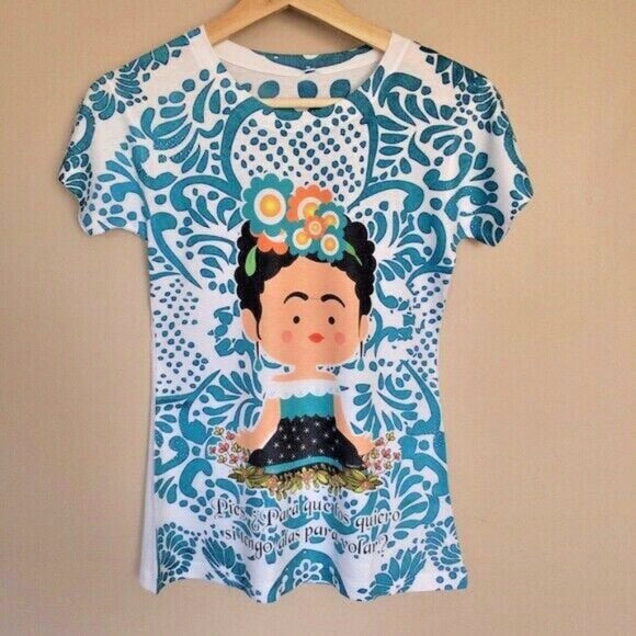 50% OFF SALE Frida Kahlo Cartoon T-Shirt Blue - The Little Pueblo