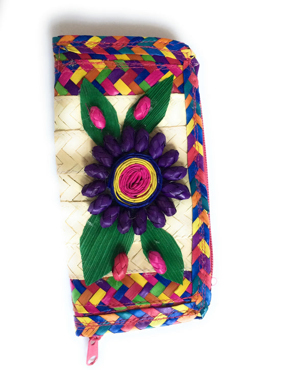 MexicanWoven Palm Leaf Coin Wallet Colorful - The Little Pueblo