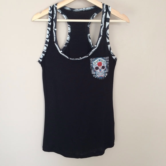 Sugar Skull Tank Top Dia De los Muertos Black - The Little Pueblo