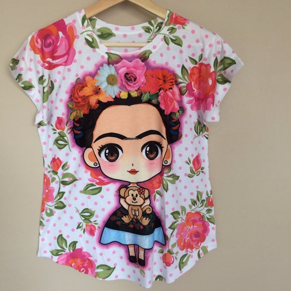 Frida Kahlo Cartoon Girl with Monkey T-Shirt - The Little Pueblo
