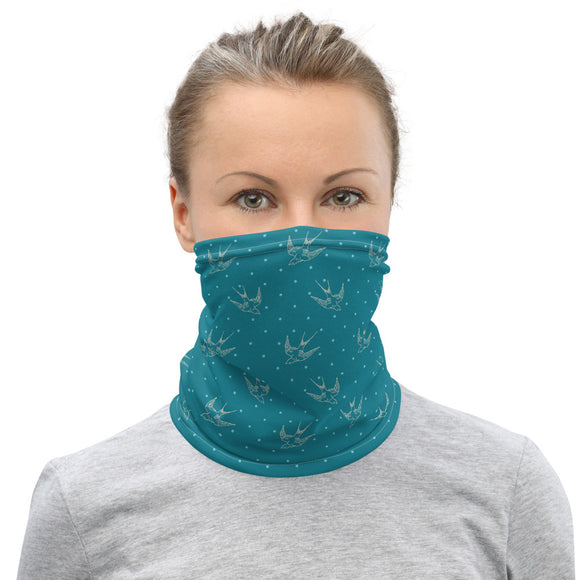 Bird Turquoise Neck Gaiter Unisex Face Mask Sunshield Bandana Scarf - The Little Pueblo