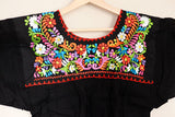 Traditional Mexican Embroidered Shirt Floral Top Blouse Handmade Gypsy Hippie M - The Little Pueblo