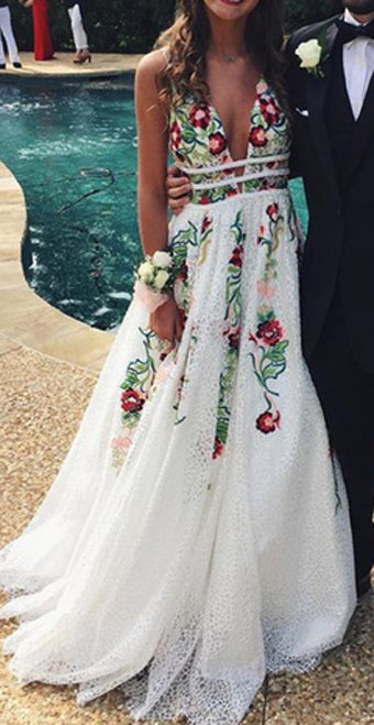 white flower prom dress