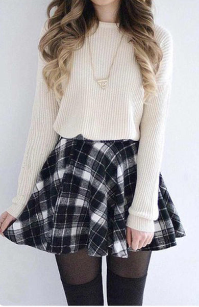 Two piece and skirt plaid