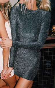 silver open back dress