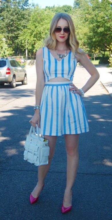 striped cutout dress