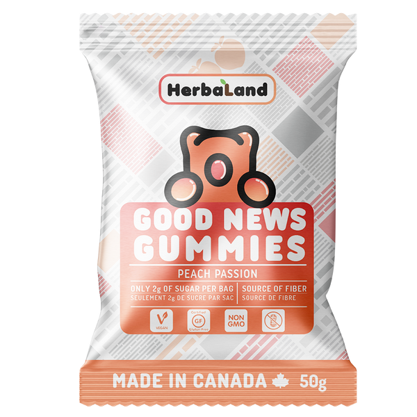 HERBALAND bonbons à la pêche passion / Good News Gummies Peach
