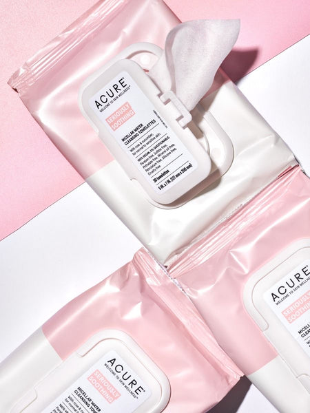 ACURE Lingettes nettoyantes à l'eau micellaire Rose & Concombre/ Micellar water cleansing towelettes Rose & Cucumber