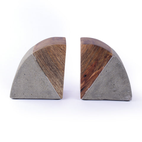 Cement Wood Bookends Set of 2 - Crank Furniture Co.