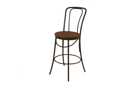 Industrial Metal Frame Bentwood Kitchen Counter Height Chair / Stool x 2 - Crank Furniture Co.