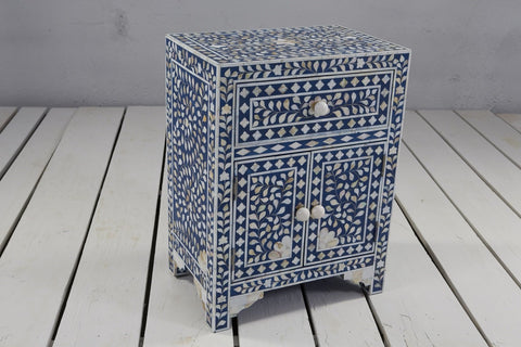 1 Drawer and 2 Door Mother of Pearl Side Table - Crank Furniture Co.