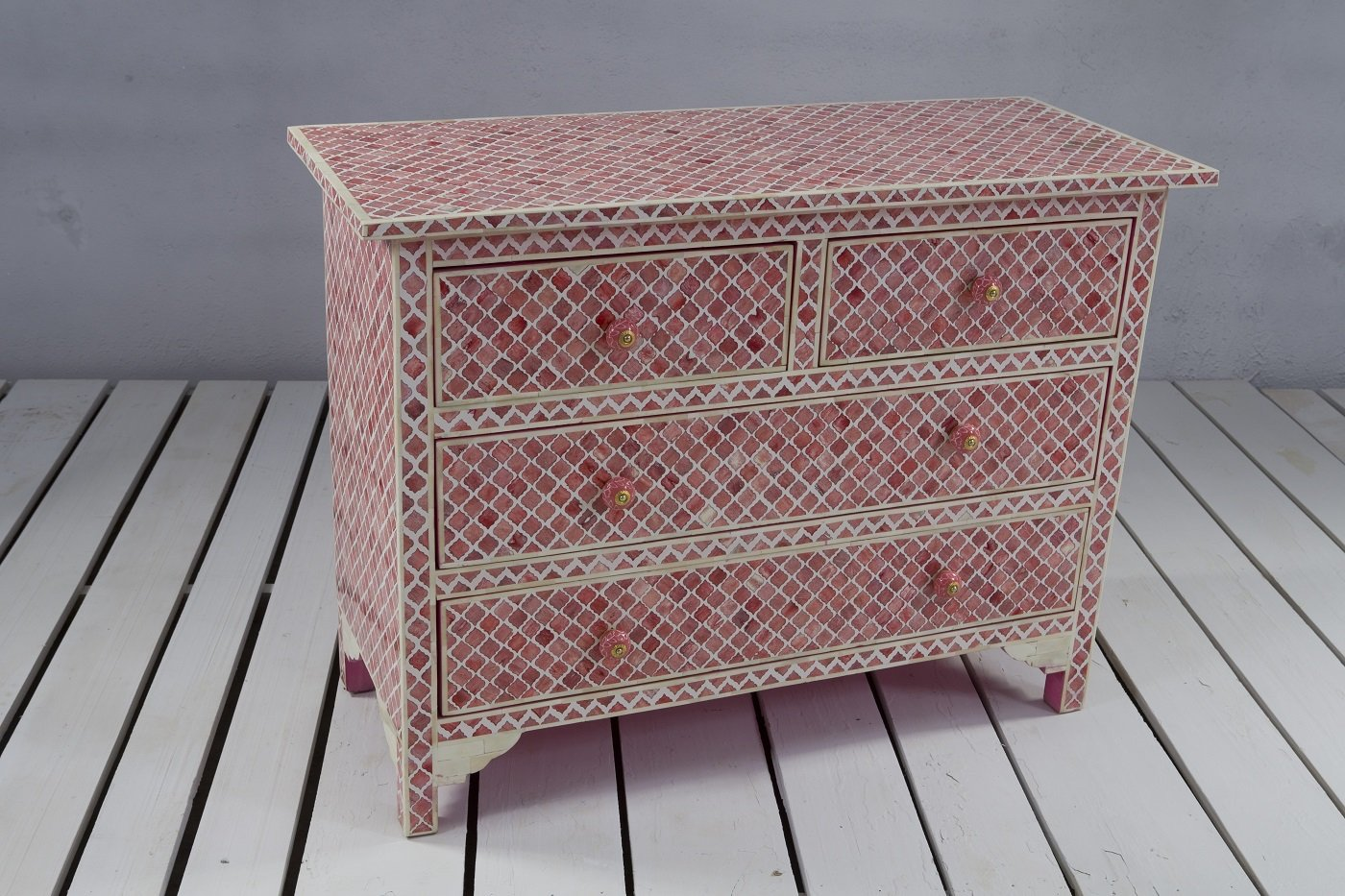 4 Drawer Bone Inlay Storage Chest