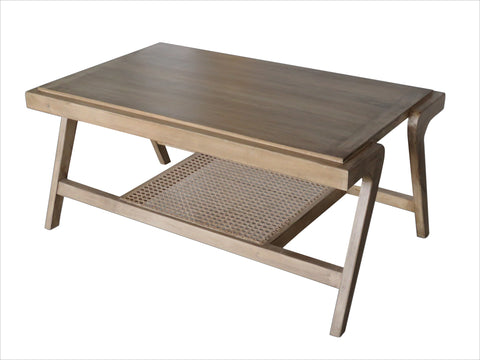 Coffee Table With Cane Shelf - Crank Furniture Co.
