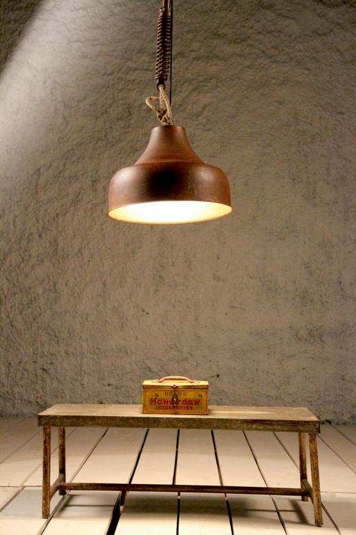 Industrial Cast Iron Copper Finish Ceiling Light (A)
