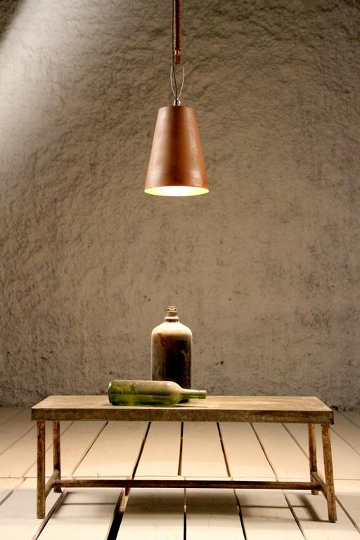Industrial Cast Iron Cone Copper Finish Ceiling Light