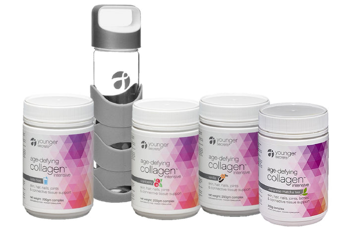 age-defying collagen™ intensive value pack with glass sports bottle - 4 flavours (taste free, vanilla, cranberry, matcha)