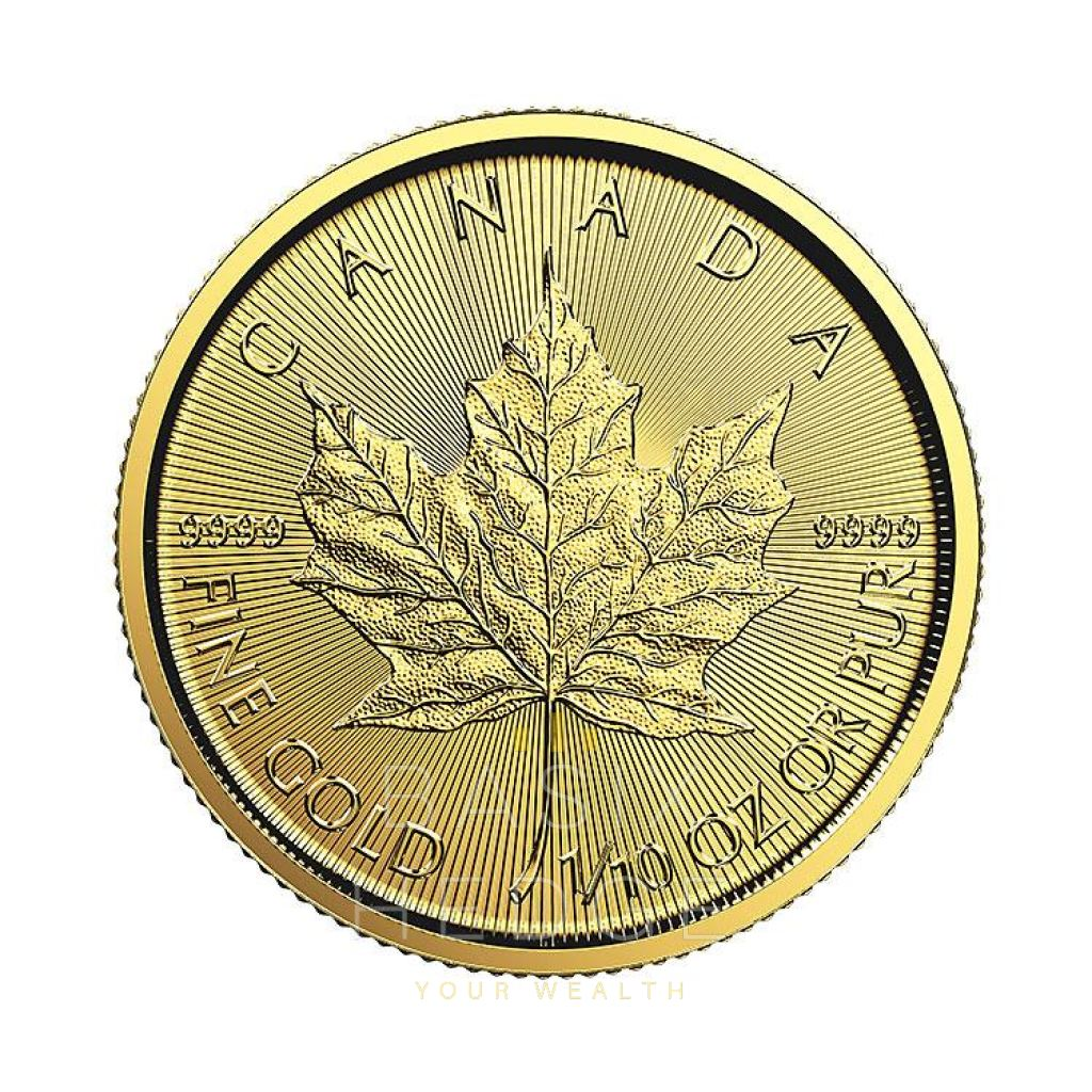1 / 10 Oz Gold Maple Leaf (Dna Mixed Years) Betalning: Wire Transfer Rabatt Mynt