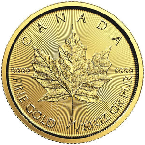 1 / 20 Oz Gold Maple Leaf (sekvenssit) Maksu: Luottokortti / Paypal Coin