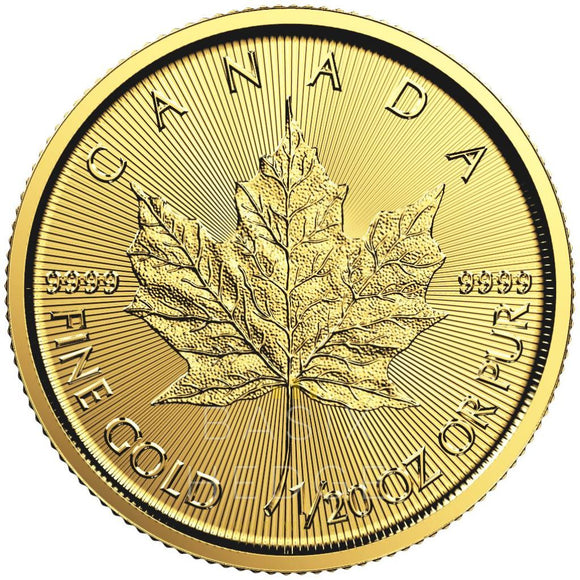 1 / 20 Oz Gold Maple Leaf (Mixed Years) Betaling: Kredittkort / Paypal Mynt