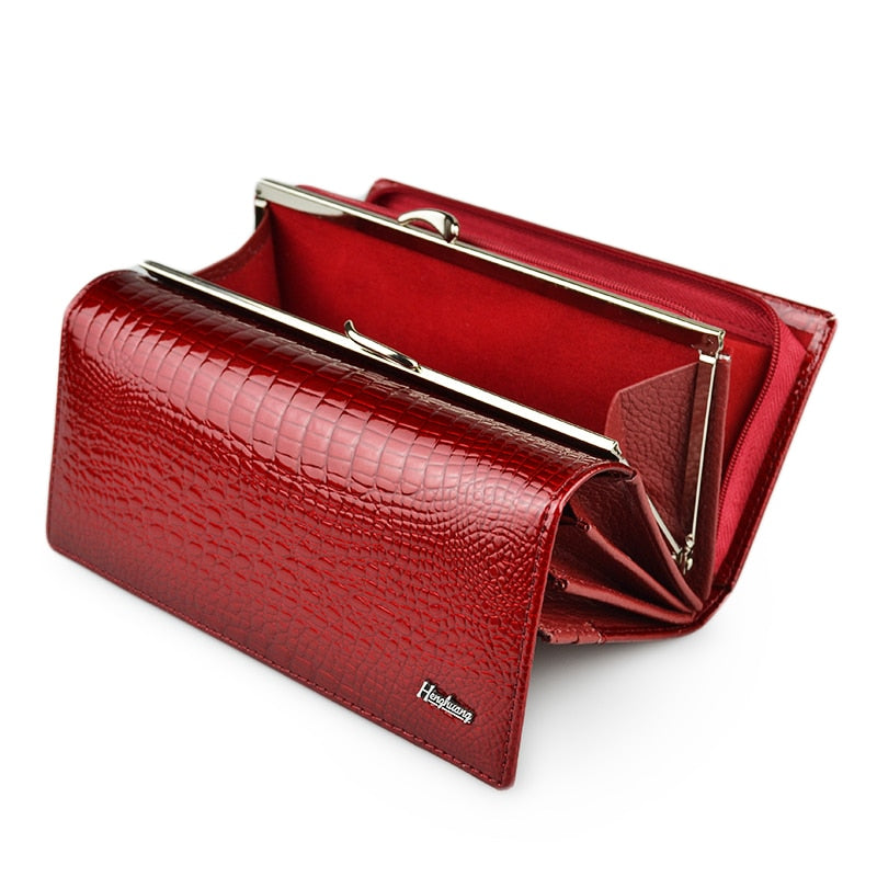 HH Genuine Leather Women's Wallet Alligator Long Hasp Zipper Wallet Ladies Clutch Bag Purse 2019 New Female Luxury Coin Purses