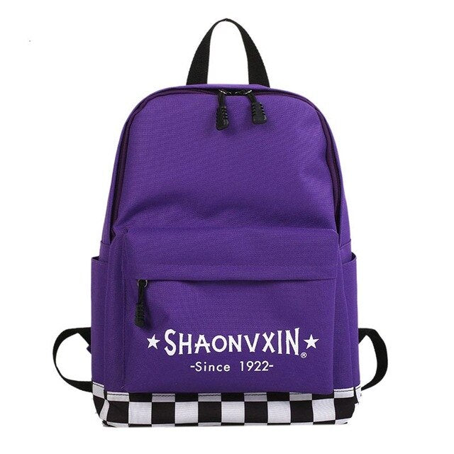 2019 New Plaid Letter Print Casual Canvas Backpack High Quality Unisex Harajuku Girls Fashion Travel School Shoulder Bag Bagpack