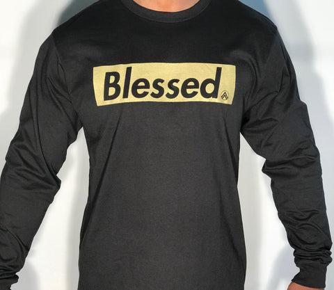 Black and Gold Long Sleeve crew neck t-shirt