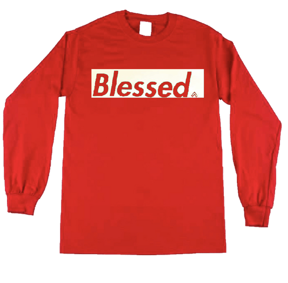RED and WHITE Long Sleeve crew neck t-shirt