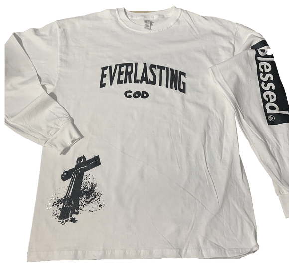 EVERLASTING GOD WHITE/ BLACK Long Sleeve crew neck t-shirt
