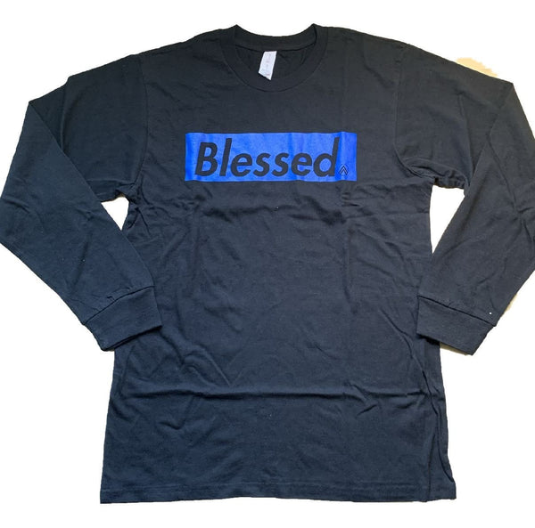 BLESSED Black/Blue Long Sleeve crew neck t-shirt