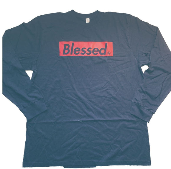 BLESSED Black/RED Long Sleeve crew neck t-shirt