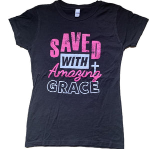 SAVED WITH AMAZING GRACE (BLACK/PINK TANK TOP