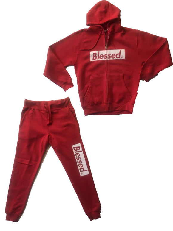 BLESSED RED/WHITE SWEATSUIT