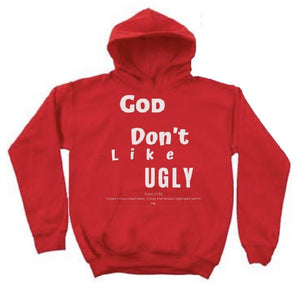 GOD DONT LIKE UGLY (RED/White Hoodie)