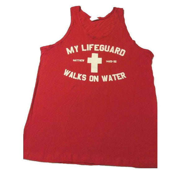 MY LIFE GAURD WALKS RED/WHITE TANK TOP