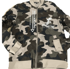 Camo jacket White Print  (Iwalk By Faith)